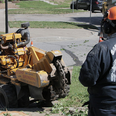 Sam's Services owner Sam Crowder looks on to his remote controlled stump grinder as he navigates it down a curb and into a parking lot
