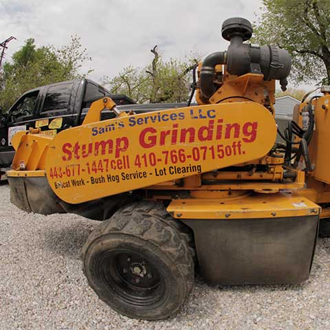 A fisheye view from the side of a Carlton SP7015 stump grinder
