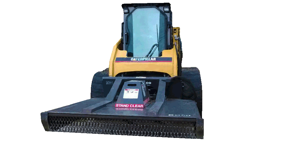 The front of a Caterpillar skid steer with a bush hog attached to the front