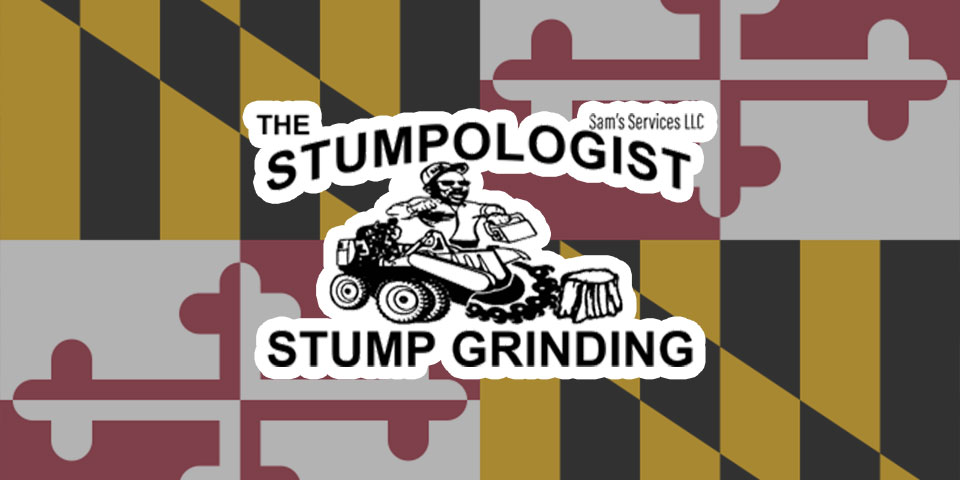 The Stumpologist Logo On Top Of Maryland Flag